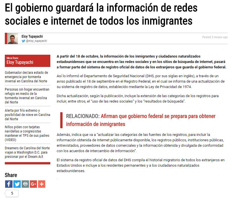 El gobierno guardará la información de redes sociales e internet de todos los inmigrantes