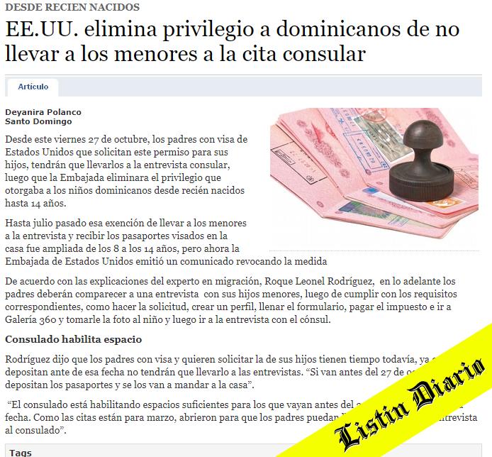 EE.UU. elimina privilegio a dominicanos de no llevar a los menores a la cita consular